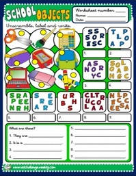School Objects - worksheets