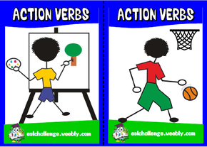 English teaching resources + action verbs flashcards