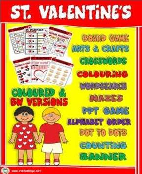 ST. VALENTINE'S RESOURCES - PRINTABLES AND PPT GAMES