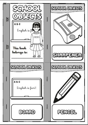 School objects - mini book