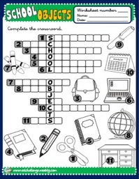 School Objects - worksheet 3