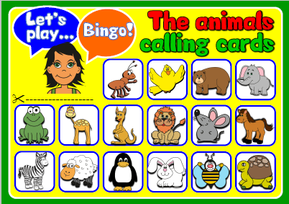 English teaching resources + the animals bingo