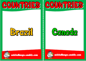 English teaching resources + countries flashcards