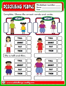 Describing people worksheet