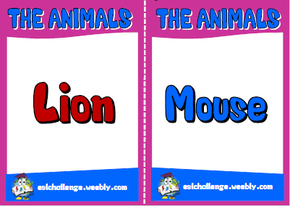 English teaching resources + the animals flashcards