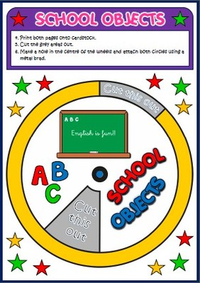School objects - vocabulary wheel