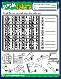 School Objects - worksheet 2