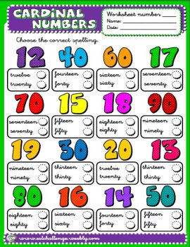 Cardinal numbers worksheet