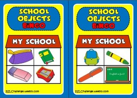 School objects  - bingo cards