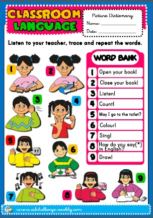 Classroom Language - picture dictionary