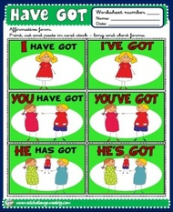 Have got - verb cards