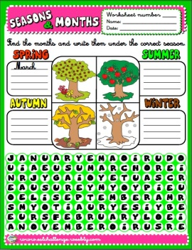 Months and seasons worksheet