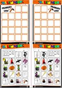 Halloween board game pictures cards