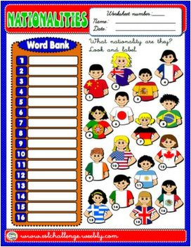 NATIONALITIES WORKSHEET