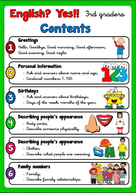 3RD GRADERS, table of contents
