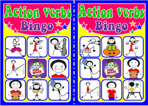 English teaching resources + action verbs bingo
