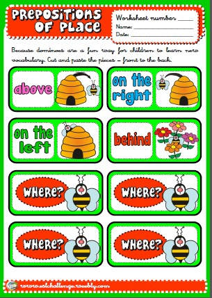 #Prepositions of place picture dictionary dominoes