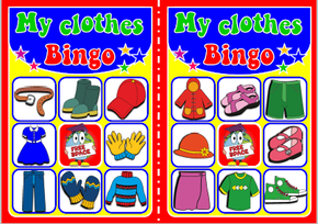 English teaching resources + clothes flashcards